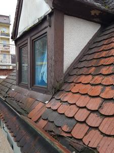 Dachsanierung vorher: Spitzdach mit Gauben